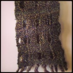 Felted handwoven scarf from hand spun yarn