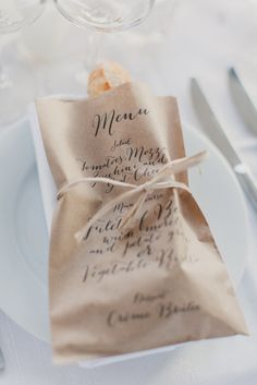 Menu Design Ideas A printed menu bag that also holds the bread. Photo Source: style me pretty. A printed menu bag that also holds the bread. Photo Source: style me pretty. Wedding Menu, Wedding Table, Rustic Wedding, Destination Wedding, Dream Wedding, Wedding Foods, Paris Wedding, Wedding Catering, Wedding Bag