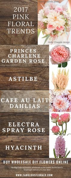 2017 pink wedding flower trends! www.fabulousflorals.com The DIY bride's #1…
