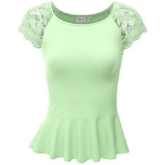 SJSP Cap Sleeve Lace Shoulder Designed Shirring Flare Top ($9.99) ❤ liked on Polyvore featuring tops, ruched top, green top, gathered top, lace cap sleeve top and shirred top