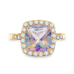 Lab-Created Mystic Fire® Topaz and White Sapphire Ring in 10K Gold with Diamond…