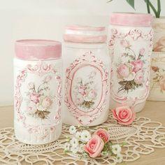 """716 """"Μου αρέσει!"""", 28 σχόλια - Love Shabby Chic (@love_shabby_chic) στο Instagram: """"#chic #pink #white #pinkandwhite #romantic #upcycled #giftideas #becreative #besafe"""" Mason Jar Crafts, Mason Jars, Fun Crafts, Diy And Crafts, Decoupage Jars, Candle Holders, Shabby Chic, Candles, Beautiful"""