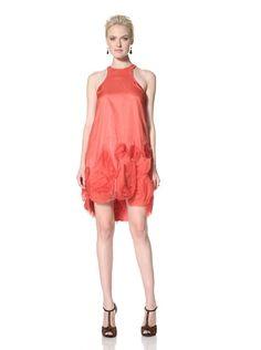 80% OFF Vera Wang Lavender Women\'s Halter Drop Waist Organza Dress (Coral)