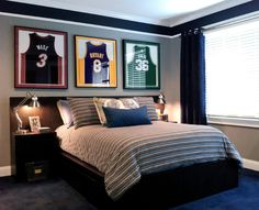 contemporary teen boy Love the framed jerseys  And the grown up bed