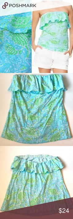 Lilly Pulitzer LARGE Wiley top Get Crackin EUC Lilly Pulitzer   LARGE   Get Crackin' print   EUC   Wiley Ruffle Tube Top   %100 Cotton Lilly Pulitzer Tops