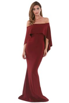 Cheap Burgundy Off Shoulder Poncho Gown Mermaid Dress only US  11.04 3fc20e399