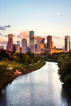 Sunset view of the Houston skyline taken from the Rosemont Pedestrian Bridge in Buffalo Bayou Park, Houston, Texas. Houston photography, Texas wall art home decor print New Orleans, New York, Viaje A Texas, Austin Texas Photography, Laos, Houston Skyline, Visit Texas, Texas Travel, Dallas Travel