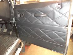 Landrover defender 90 custom leather covered door card