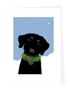 Holiday Greeting Cards Labrador with wreath and peace tag  Hand drawn, printed, trimmed and mounted to folded 5 x 7 inch card stock blank inside. 4 cards to the set, with envelopes Please choose your favorite lab black yellow or chocolate