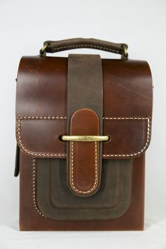 Brown mini briefcase, Leather messenger bag 10,1""