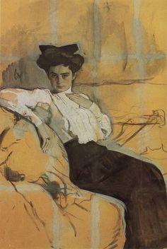 Портрет Г.Л.Гиршман. 1906 Картон, темпера. 99 x 68 см Государственная Третьяковская галерея