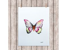 """ORIGINAL watercolor painting BUTTERFLY A5 150 X 198 mm (5,9"""" x 7,8"""")"""