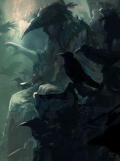 "CORVOPHILIA[noun]a love of crows or ravens.Etymology: from Latin corvus, ""raven"" + Greek philia, ""love"".[Eren Arik - The Raven King] Dark Fantasy Art, Dark Art, Illustrations, Illustration Art, Rabe Tattoo, Les Runes, Raven King, Raven Queen, Quoth The Raven"