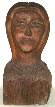 Antique American Folk Art Carving Sculpture Woman (Life Size) with Cross Necklace 19th Century Collection Jim Linderman Folk Art