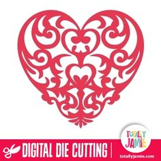 Baroque Heart  - Buy and instantly download this baroque heart shape, it's perfect for making valentine's day cards or wedding invitations, or for your scrapbooking or crafting projects. Digital die cutting files are designed specifically with cutting machines in mind. Use them with programs such as your Silhouette, Cricut (SCAL/MTC), Pazzles, Klick-n-Kut, Wishblade or any cutting machine that can use the following file formats: SVG, PDF, and DXF. Look no further than TotallyJamie's online…