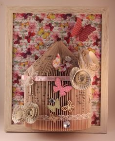 birdcage book folding with rolled paper roses and butterfly
