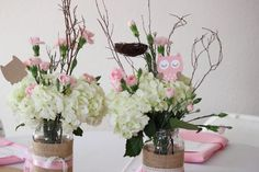 DIY owl jar centerpiece with flowers