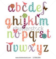 Girly Alphabet Vector Set - More Letters in Portfolio - stock vector