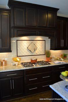 dark wood cabinets kitchen backsplash - Google Search
