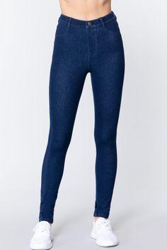 Knit Denim Jeggings   KjSelections Jeggings, Online Boutique Stores, Mode Jeans, Cotton Textile, Knit Leggings, Christian Clothing, Denim Fabric, Denim Fashion, Indigo