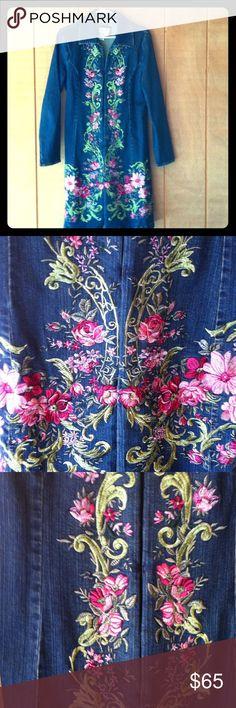 Live A Little Embroidered Floral Denim Coat Size M Beautiful floral embroidered denim coat size medium. live a little Jackets & Coats Jean Jackets