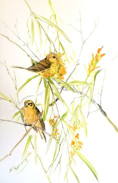 YellowHammers and Willow Painting 22X15 in by ORIGINALONLY on Etsy