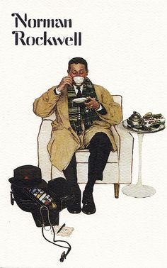 "Norman Rockwell - postcard advertising red rose tea ~ retitled by me ""housecalls"""