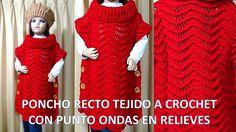 Poncho Recto tejido a crochet o ganchillo paso a paso, indicaciones toda...
