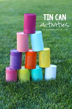 Alright guys….I've got a super fun post for you! 5 fun things to do with tin cans! yup…corn, green beans, tomatoes, cream of mushroom! we are saving all those cans, cleaning them out and having some fun!!! Spray paint will make these cans totally fun and colorful! and of course you can have kids decorate …
