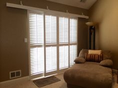 Bypass Plantation Shutters Over Sliding Glass Doors - Stained glass is probably one of the very most beautiful varieties of g Sliding Glass Door Shutters, Sliding Door Window Treatments, Wooden Shutters, Sliding Patio Doors, Glass Doors, Shutters Inside, Window Shutters, Door Curtains, Entry Doors