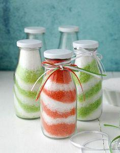 badesalz selber machen bunte schichten in flaschen