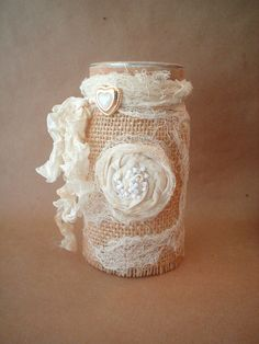 Altered Mason Jar with Burlap and Lace