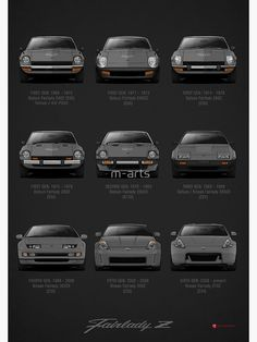 Another series of the legendary japanese sport car with specifications: Datsun / Nissan Fairlady Z. / JDM base informations. Also buy this artwork on wall prints and stationery. 240z Datsun, Datsun Car, Tuner Cars, Jdm Cars, Nissan Z Cars, Japanese Sports Cars, Nissan 300zx, Bmw Classic Cars, Japan Cars