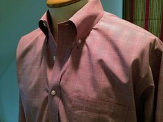 Brooks Brothers 346 Original Polo Shirt Mens Pink Gray White Checks Sz 161/2 4/5 #BrooksBrothers346