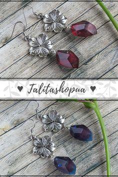 Blue unique drop resin #earrings  in bohemian style  #giftforher #resinjewelry #talitashopua #jewelry