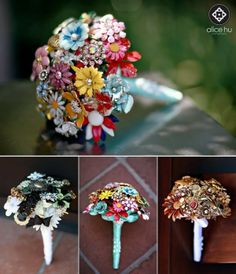 Vintage broch bouquet...just a cool idea for any occassion