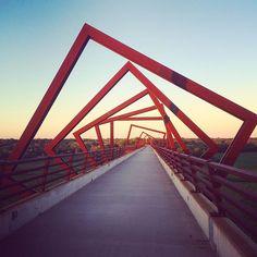Sunset view of the High Trestle Bridge