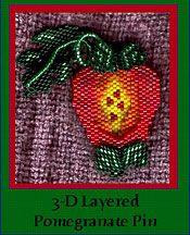 3-D Heirloom Pomegranate Pin at Sova-Enterprises.com