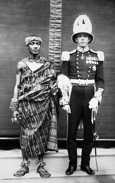 "Africa | ""King Perempeh II of Asante and the English Governor at the reinstatement of the Asante dynasty in Kumase."" Ghana. January 1935. 