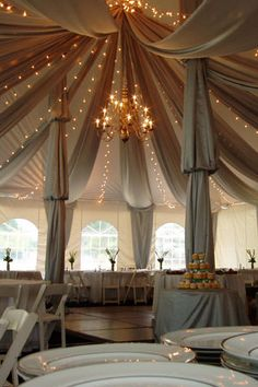 Fabric Swags in Tent with twinkle lights