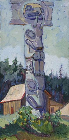 Skidegate (oil on card mounted on board) Emily Carr Emily Carr, Canadian Painters, Canadian Artists, Emo, Group Of Seven Paintings, Vancouver Art Gallery, Aboriginal Culture, Southwest Art, Impressionist Paintings