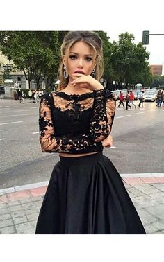 Two Piece Formal Dresses, Grad Dresses Long, Long Sleeve Evening Dresses, Prom Dresses Long With Sleeves, Black Prom Dresses, Cheap Prom Dresses, Formal Evening Dresses, Formal Prom, Bride Dresses