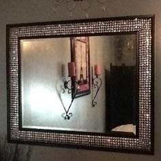 DIY - Bling out your mirror! Buy any cheap framed mirror & any type of gem stones. Simply figure out the design you want & hot glue it on!! I purchased a 2.5' x 3' framed mirror for $30 & 1lb of gemstones for $8 so a total of $38! So cheap!!!!
