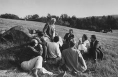 <strong>Caption from LIFE.</strong> Student authors hear Robert Frost discuss verse at Bread Loaf Writers' Conference near Middlebury, Vt., the oldest summer writers' workshop.