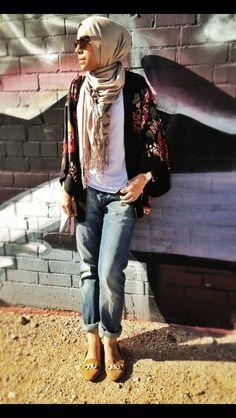 Hijab with boyfriend jeans and kimono cardigan