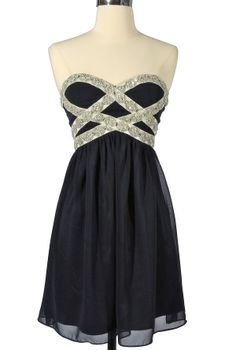 Sparkling Splendor Embellished Chiffon Designer Dress by Minuet in Midnight Blue    www.lilyboutique.com