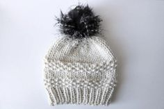 Knitted Knit Beanie Hat with Black and White Faux Fur Pom Pom. Chunky Wool, Faux Fur Pom Pom, Chilly Weather, Knit Beanie Hat, Knit Fashion, Wool Yarn, Winter Hats, Knitting, Handmade