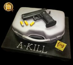 No we don't promote violence that's the name of the celebrant, seriously, and that's an edible STi Edge .45 mm edible pistol on top it's carrying case that happens to be the cake. #customcakesiligan #cakesiligan #cakesphilippines #FAJ #experienceFAJ #3dCakes #STiEdge #guncake