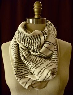 Wrap Up With A Good Book Scarf (you can select your own text!) by storiarts on Etsy. Great idea for Xmas gifts!