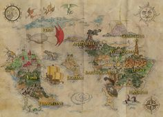 Colored version of the world map found in the book.